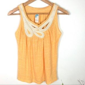 Anthropologie Yellow Sleeveless Rope Detail Tank S